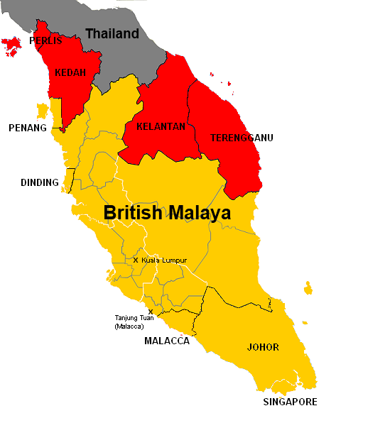 Si Rat Malai, Parts of British Malaya annexed by Thailand (1943-1945)