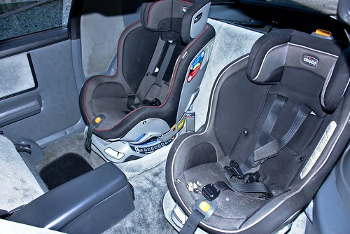 Car seats in the back of a 1988 Firebird Formula