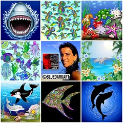 :sweat_drops::blue_heart::tropical_fish: #artvsartist2019 :tropical_fish::blue_heart::sweat_drops: I love the Ocean, the #Sea, and it's #Creatures :blue_heart: Today I feature some of my #Sealife #Designs & #illustrations :blue_heart: #Licenses are availa