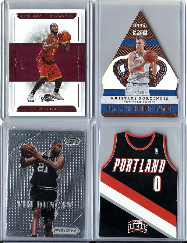 35b9ccdaba7f J.R. Smith 2016-17 National Treasures Bronze 24 25 -  2. Kristaps Porzingis  2017-18 Crown Choice Award Bronze 47 99 -  2. Tim Duncan 2012-13 Prizm MVP  -  3