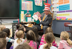 Rep. Fishbein reads Dr. Seuss stories to 3rd graders at Mary Fritz Elementary during Read Across America events.