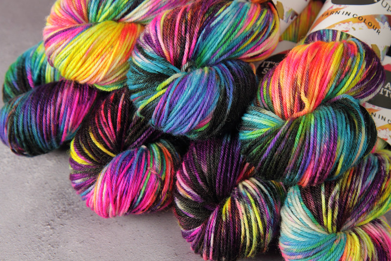 It's a Stitch Up Dynamite DK hand dyed yarn in 'Shinjuku'