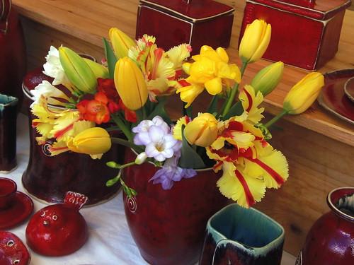Easter Ikebana & Red Ceramic Art