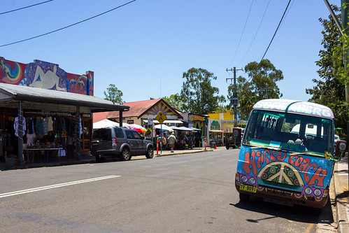 Street View of Nimbin with Hippy Van