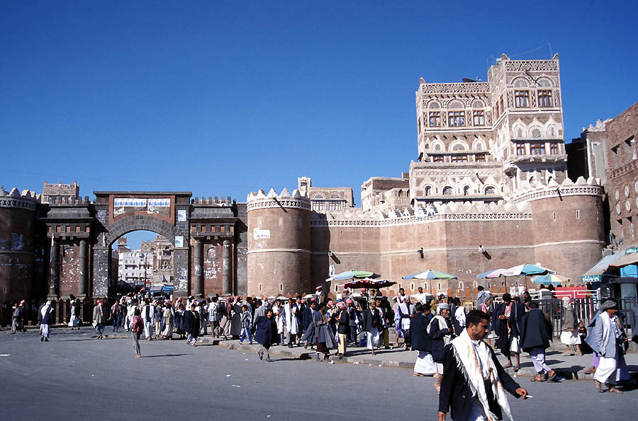 The 1000-year old Bab Al-Yemen (the Gate of Yemen) at the city center of Sana'a., Republic of Yemen. Photo taken by Jialiang Gao.