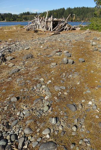 Rocks and driftwood shelter at Whiffen Spit, a walk on a spit of land extending out into the Pacific Ocean from Sooke on Vancouver Island, Canada