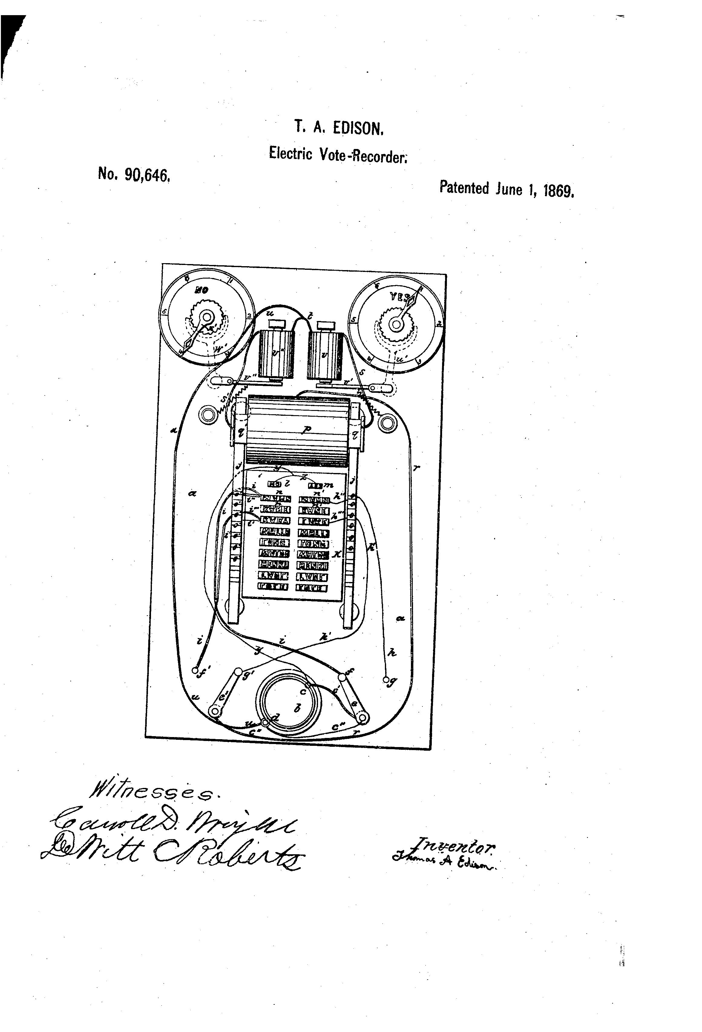 Thomas Edison's first patent for the Electric Vote Counter.