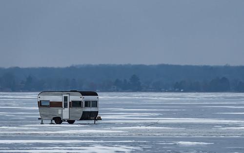 Trailer on Frozen Yellow Lake, Wisconsin