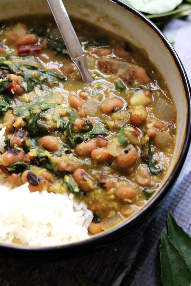 Lucky Black-Eyed Peas, Greens, and Red Lentil Curry