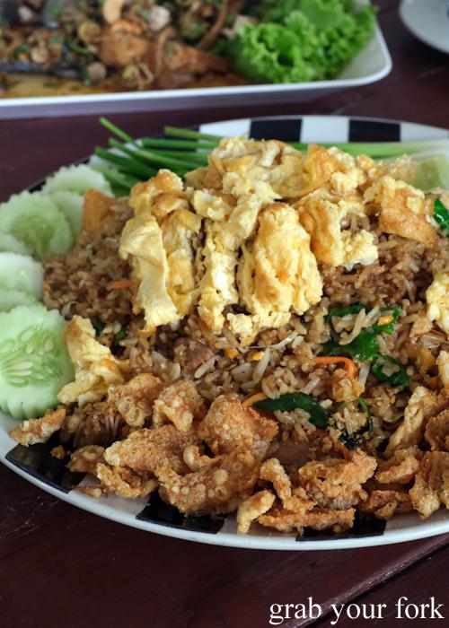 Fried rice with pork crackling at Krua Navy Base Restaurant in Khao Lak, Thailand