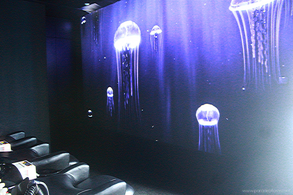 Floating jellyfish screen at Chez Vous:HideAway