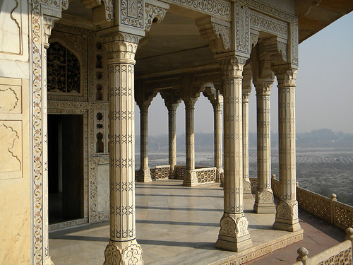 Colonnaded balcony at the Agra Fort, a 16th-century Mughal fortress, is another UNESCO World Heritage site in Agra, and in its own way just as beautiful as the Taj Mahal