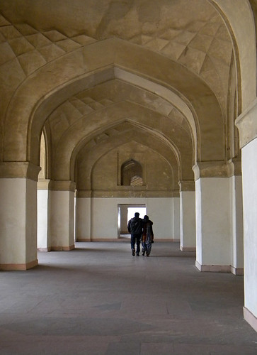 Walking through the halls of Akbar's Mausoleum in Agra, India