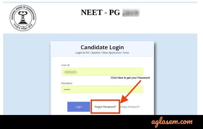 NEET PG 2020 Forgot Password Login