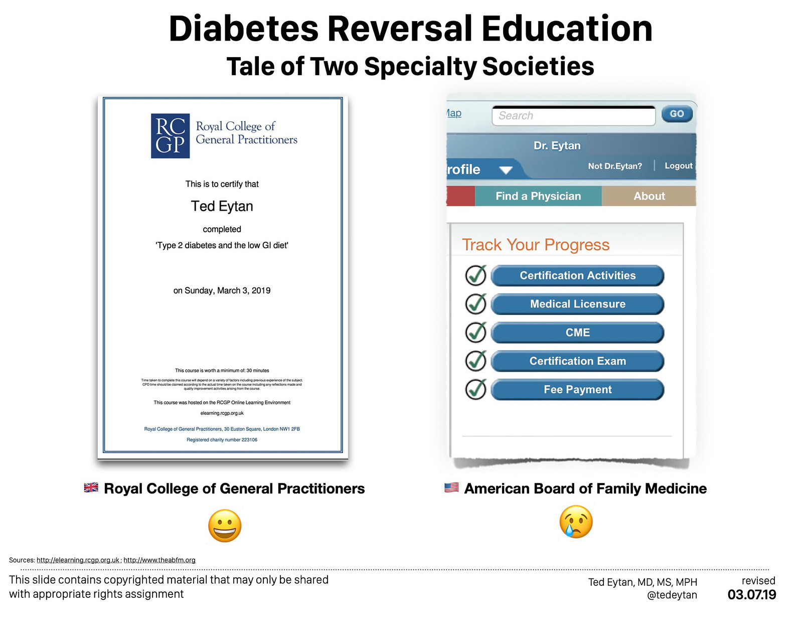 Just Completed: RCGP e-learning  Course: Type 2 diabetes and the low GI diet, comparing to my ABFM educational experience