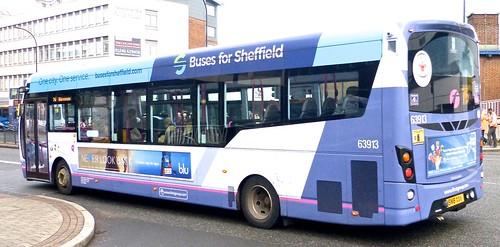 SN18 XXV 'First South Yorkshire' No. 63913. 'Buses for Sheffield'. Wright Streetlite D/F 'on Dennis Basford's railsroadsrunways.blogspot.co.uk'