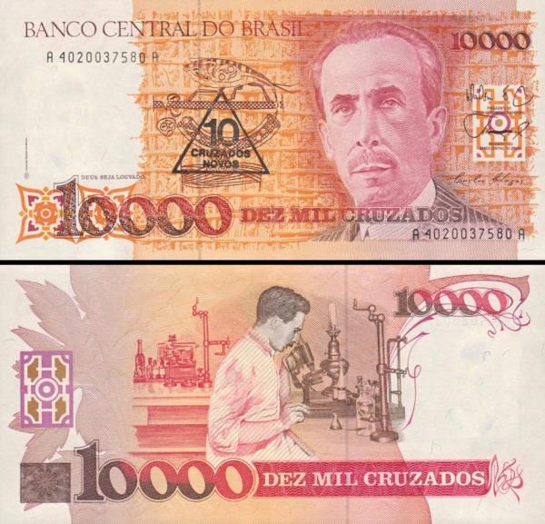 10 cruzados novos Brazília 1989, P218a