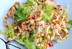 GRILLED CALAMARI SALAD WITH FRISEE AND ISRAELI COUSCOUS