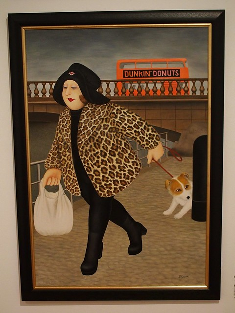 "Painting ""By the Clyde"" by Beryl Cook, showing a woman in a leopard print coat and black hat, carrying a shopping bag and leading a small terrier which is sniffing a post."