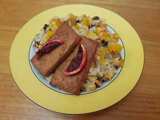 Pumpkin and Cranberry Risotto; Blood Orange Glazed Tofu