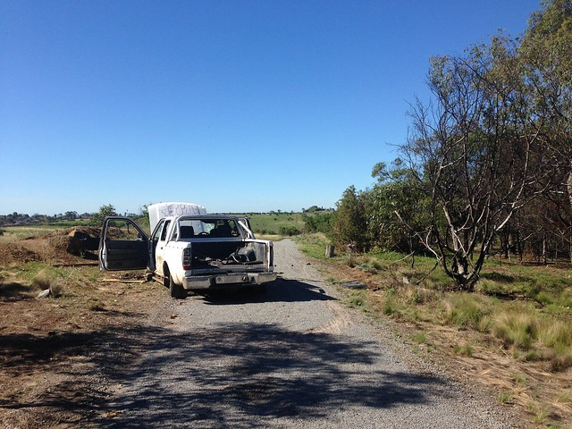 Abandoned car on Moonee Ponds Creek Trail, Attwood
