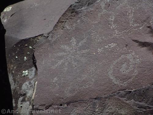 Geometric petroglyphs at the Nampaweap Rock Art Site in Grand Canyon Parashant National Monument, Arizona