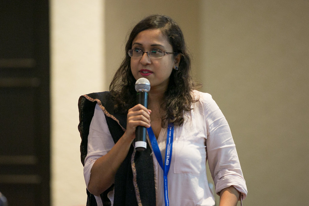 Afrina Choudhury, Senior Gender Scientist, WorldFish Bangladesh, presenting at COP13. Photo by WorldFish.