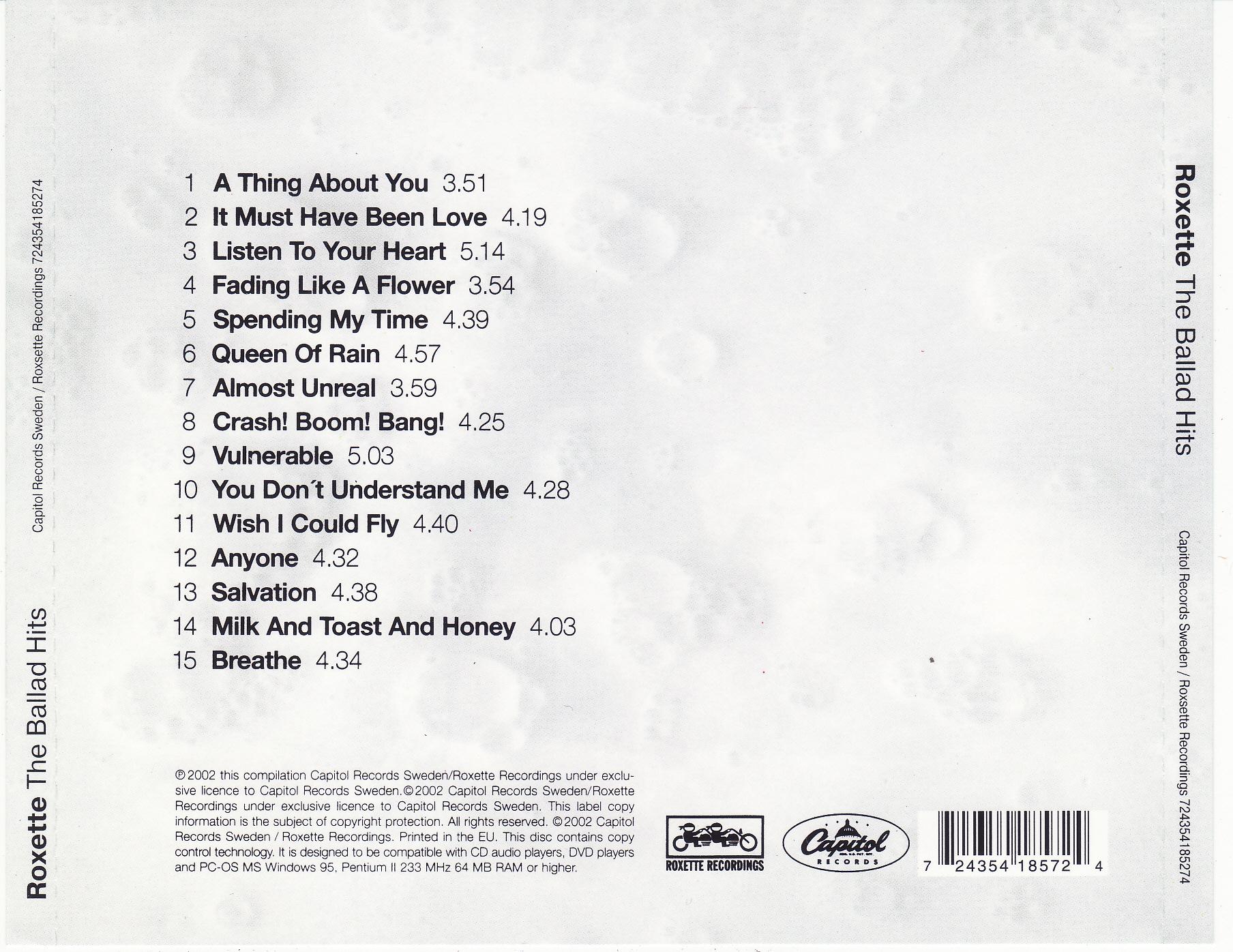 cd roxette the ballad hits