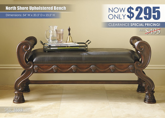 North Shore Upholstered Bench Clearance Special_B553-09