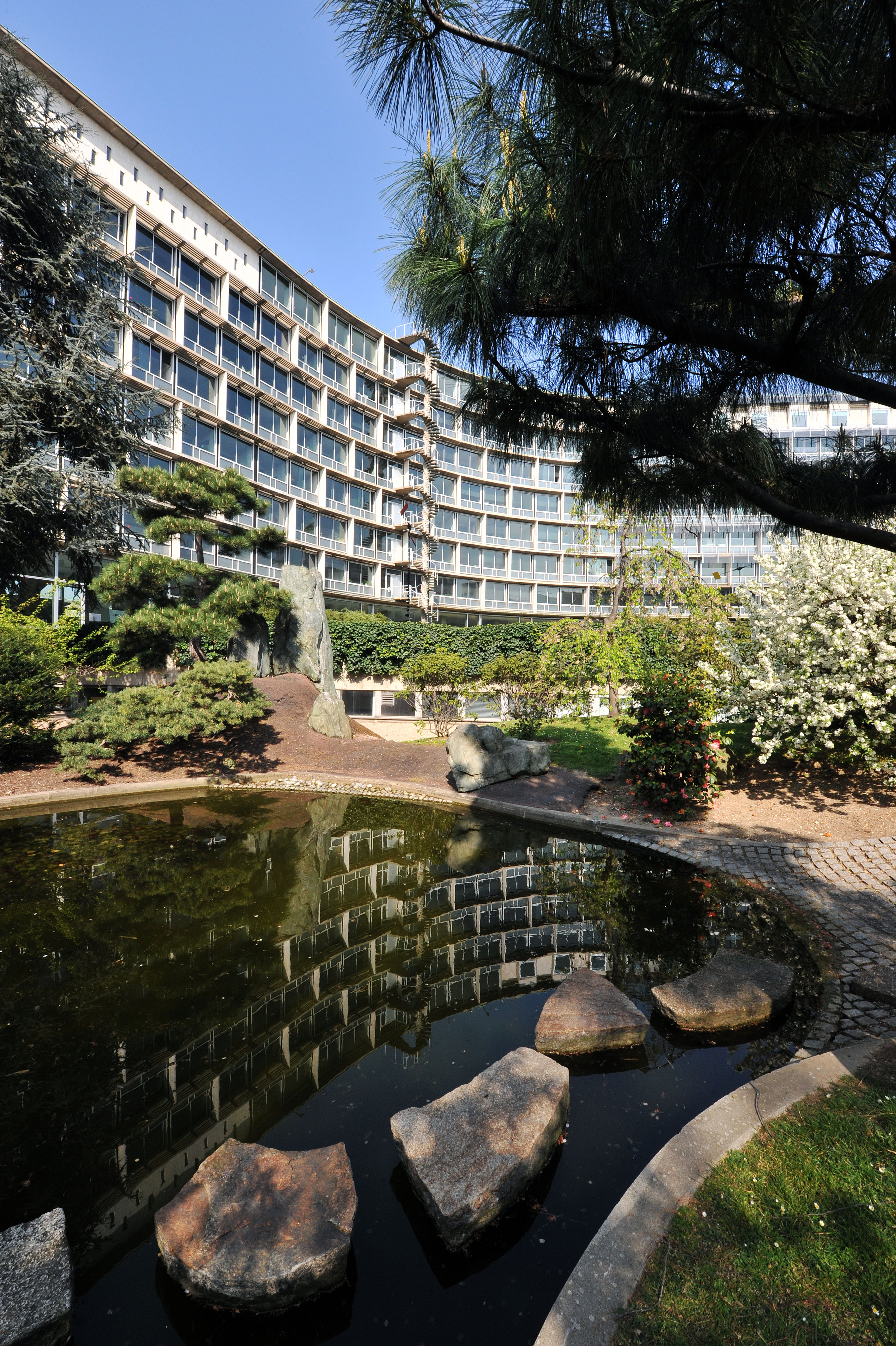 The Garden of Peace, UNESCO headquarters, Paris. Donated by the Government of Japan, this garden was designed by American-Japanese sculptor artist Isamu Noguchi in 1958 and installed by Japanese gardener Toemon Sano.