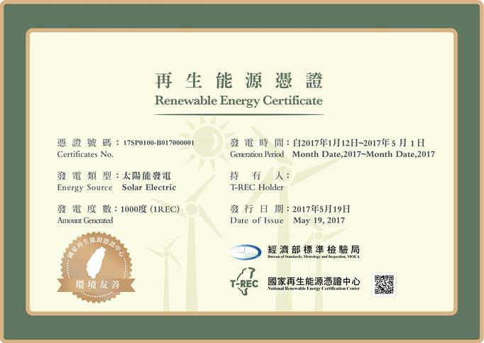 台灣再生能源憑證與網站上可查詢每張憑證的發電案場、發電時間、移轉等紀錄。參考圖片來自標檢局簡報