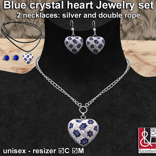 Blue crystal heart Jewelry set