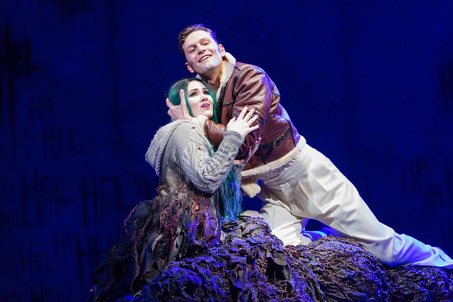 Marta Fontanals-Simmons as Hel and Dan Shelvey as Baldr in The Monstrous Child, The Royal Opera © 2019 ROH. Photograph by Stephen Cummiskey