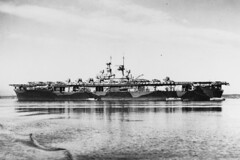 File photo of USS Wasp (CV 7) circa early 1942, with SB2U and F4F aircraft on her flight deck. (Naval History and Heritage Command photo)