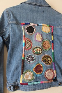 One of a Kind/Hand Embroidered/Hippie Boho/ Fiber Art/ Women's Vintage Denim Jacket XS | by shopthegasstation