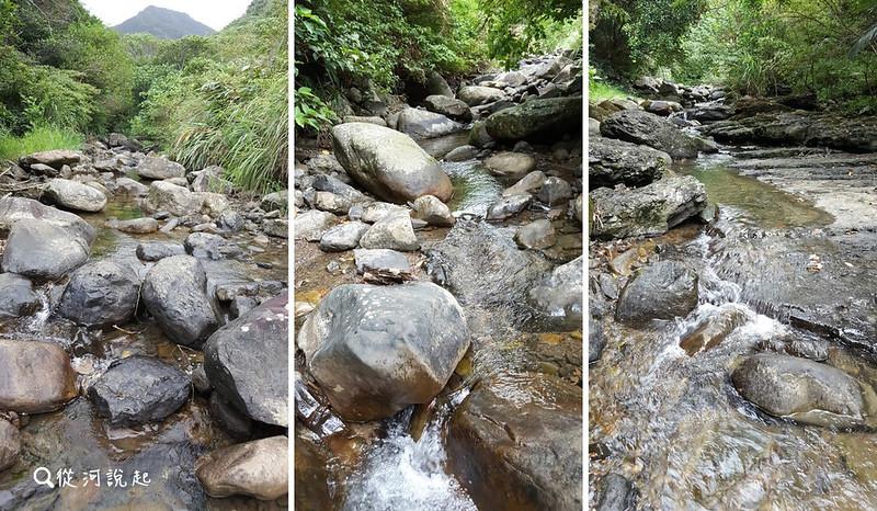鄰近自然沒有擾動的溪,即使集水區小、水量少,但在久旱的乾季,涓涓細流仍能持續地跌宕流動著,沒有見到伏流現象。
