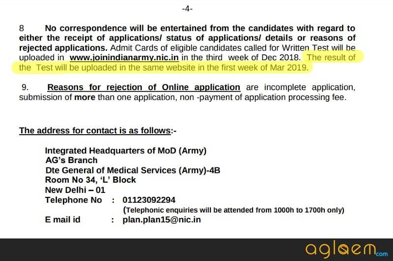 Indian Army BSc Nursing 2019 Result
