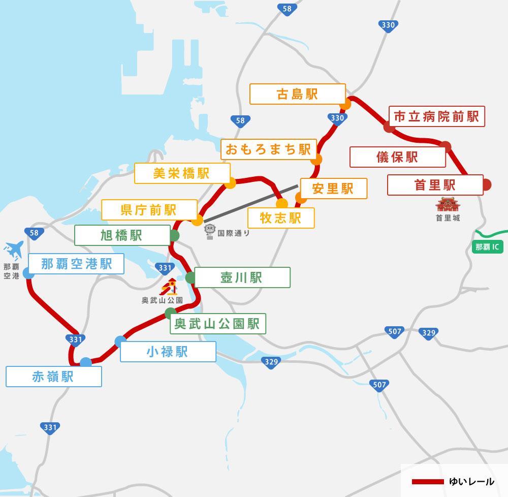 沖繩單軌列車車站地圖