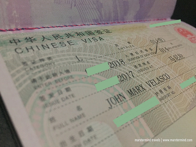 Chinese Tourist Visa Single Entry