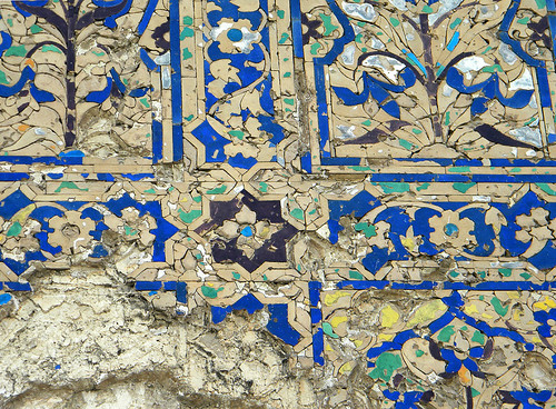 Tiled exterior wall of the Chini Ka Rauza, another architectural masterpiece, a mausoleum containing the tomb of a nobleman. This translates as 'Chinese Mud' and means 'Chinese Tiles' referring to the exquisite blue and green tile work on the exterior.
