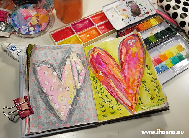 Two hearts side by side painted by iHanna