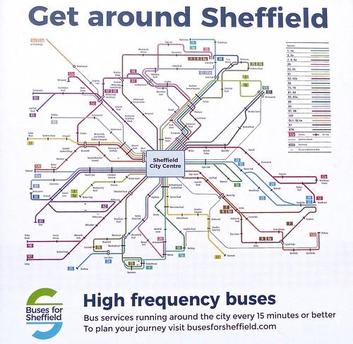 'Buses for Sheffield' route map on Dennis Basford's railsroadsrunways.blogspot.co.uk'