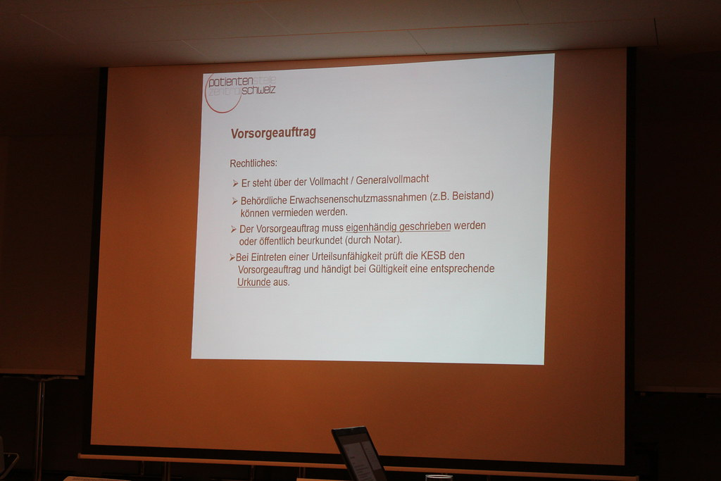 Vortrag über Patientenverfügung und Vorsorgeauftrag, 19.1.19