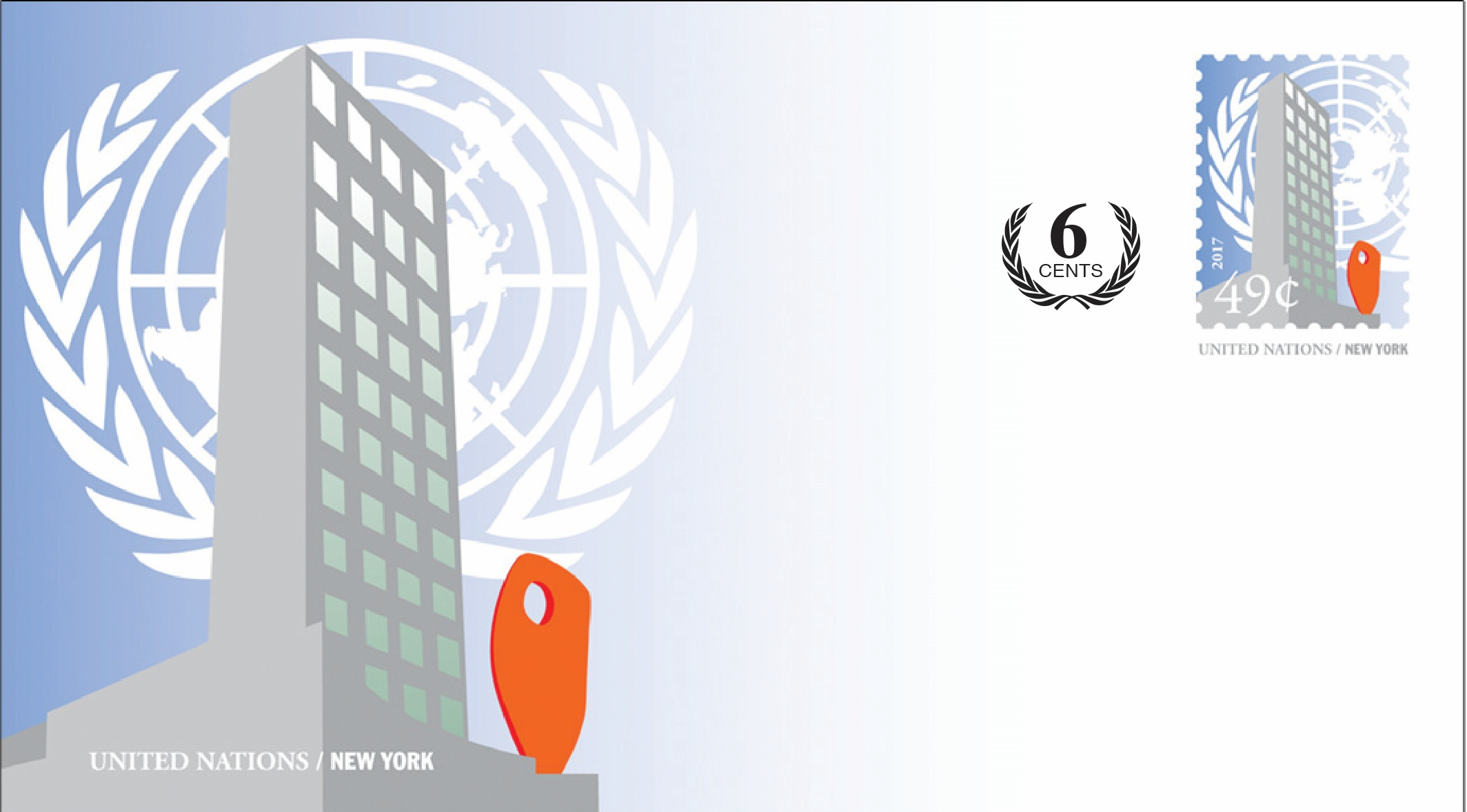 United Nations Headquarters (New York) - Revalued Envelope, 55 cents (February 1, 2019)