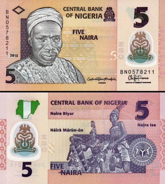 5 Naira Nigéria 2017, polymer P38f