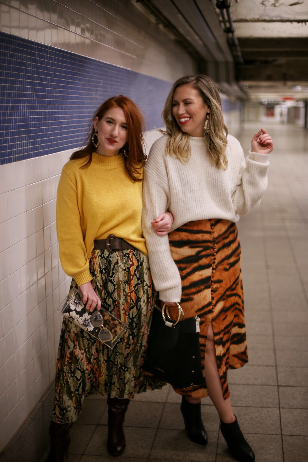 Animal Print Skirts Snake Print Skirt Tiger Print Skirt Fashion Bloggers Winter Outfits Canal Street Subway Fashion Photo Shoot