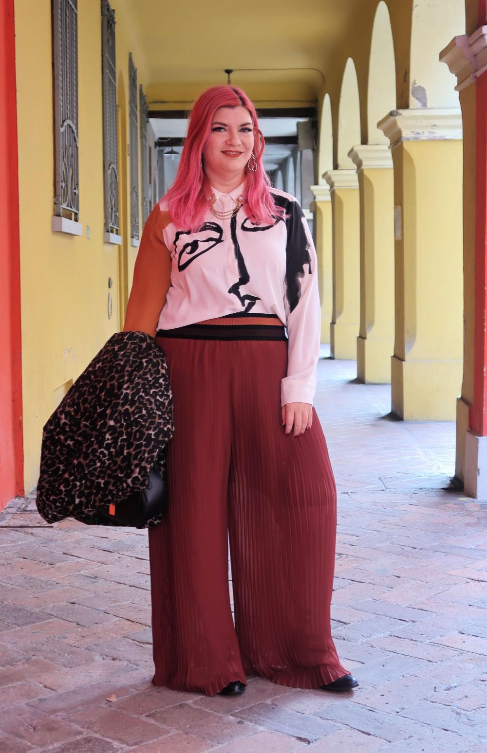 outfit plus size, curvy, panta palazzo e cappotto leopardato (3)