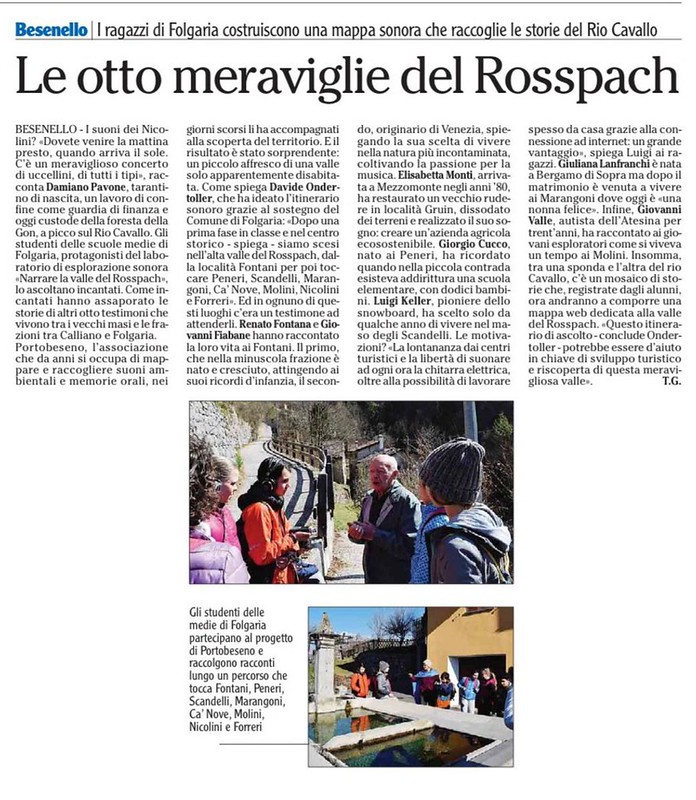 quotidiano l'Adige 4 aprile 2018