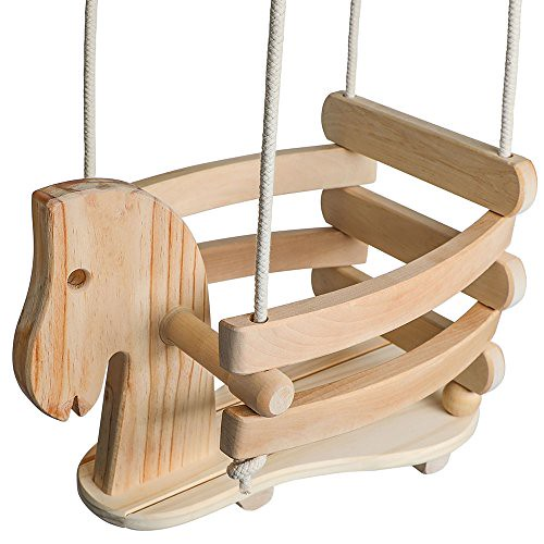 EcoTribe Wooden Horse Swing, Toddler and Baby Swing, Outdoor and Indoor Use, Eco-friendly Smooth Birch Wood with Natural Cotton Ropes, Swing Chair for Babies 6 Months to 3 Years Old For Sale