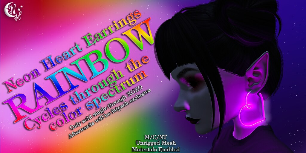 *NW* Neon Heart Earrings - Rainbow - TeleportHub.com Live!